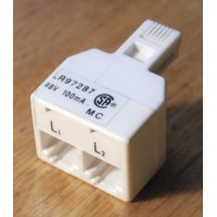 L1 + L2 multi line Y phone cable cord wire telephone splitter adapter 2-way modular coupler