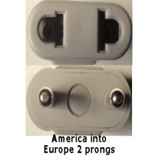 Europe prong socket adapter plug grey UNBRAKABLE