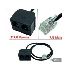 Telephone cable extension Y 25' ft feet FM 2 x female – 1 x male MF phone