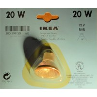 20 watts halogene light bulb clear 38o, UV filtering, MR16, 12 Volts, bi pins, covered, 2 pins beam, 1 3/8 inch large
