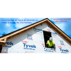 Tyvek Dupont HomeWrap membrane 10 feet X 90 feet air barrier
