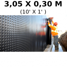 Foundation and floor drainage board membrane 3,05 meters (10 feet ) high (sold by linear feet) (HDPE)